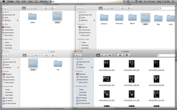 Never more than 4 folders deep.