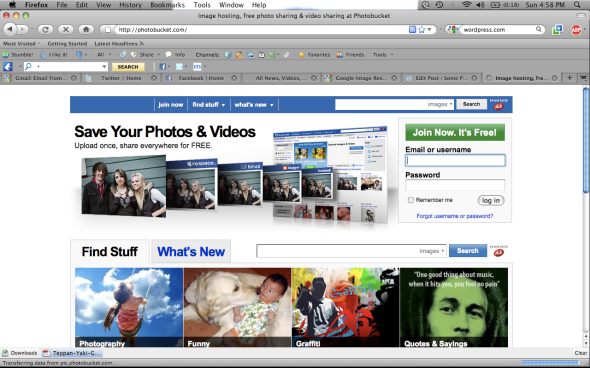 Photobucket is designed for mass photo-storage and sharing